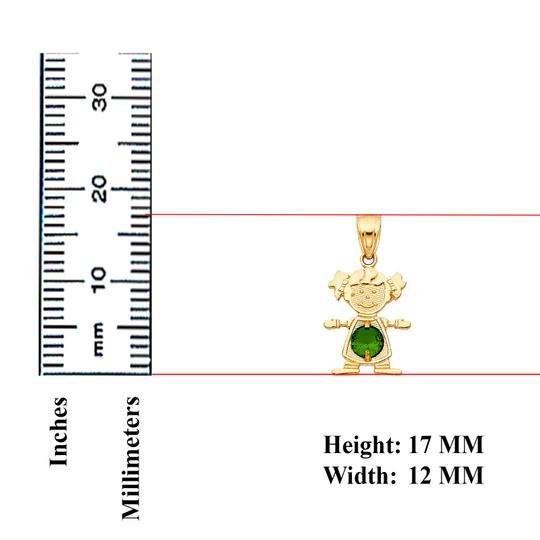 TD Collections 14K Yellow Gold May Birthstone CZ Girl Pendant Image 1