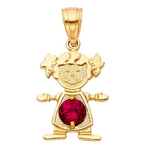 TD Collections 14K Yellow Gold July Birthstone CZ Girl Pendant