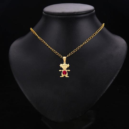 TD Collections 14K Yellow Gold July Birthstone CZ Girl Pendant Image 2