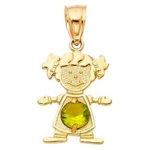 TD Collections 14K Yellow Gold August Birthstone CZ Girl Pendant