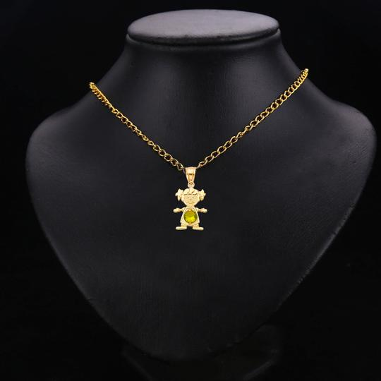 TD Collections 14K Yellow Gold August Birthstone CZ Girl Pendant Image 2