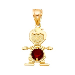 TD Collections 14K Yellow Gold January Birthstone CZ Boy Pendant