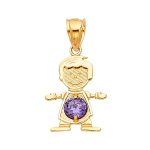 TD Collections 14K Yellow Gold February Birthstone CZ Boy Pendant