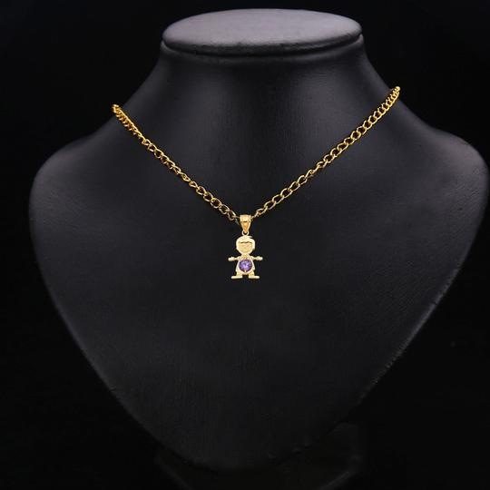 TD Collections 14K Yellow Gold February Birthstone CZ Boy Pendant Image 2