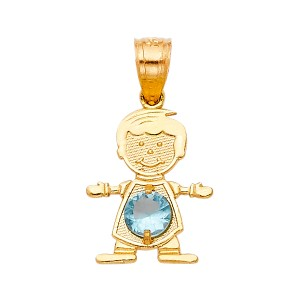 TD Collections 14K Yellow Gold March Birthstone CZ Boy Pendant