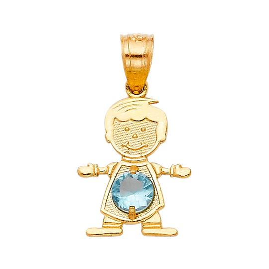TD Collections 14K Yellow Gold March Birthstone CZ Boy Pendant Image 0