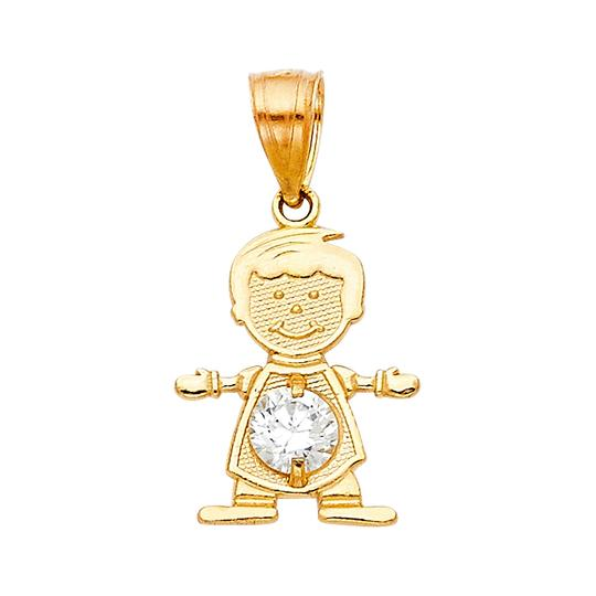 TD Collections 14K Yellow Gold April Birthstone CZ Boy Pendant Image 0