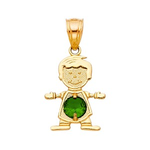 TD Collections 14K Yellow Gold May Birthstone CZ Boy Pendant
