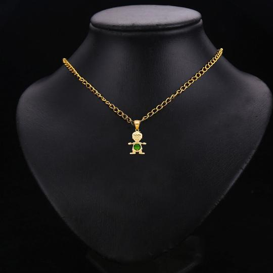 TD Collections 14K Yellow Gold May Birthstone CZ Boy Pendant Image 2