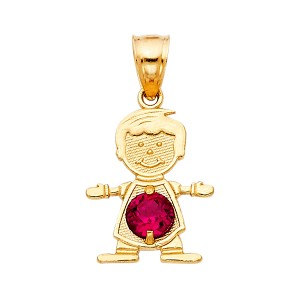 TD Collections 14K Yellow Gold June Birthstone CZ Boy Pendant