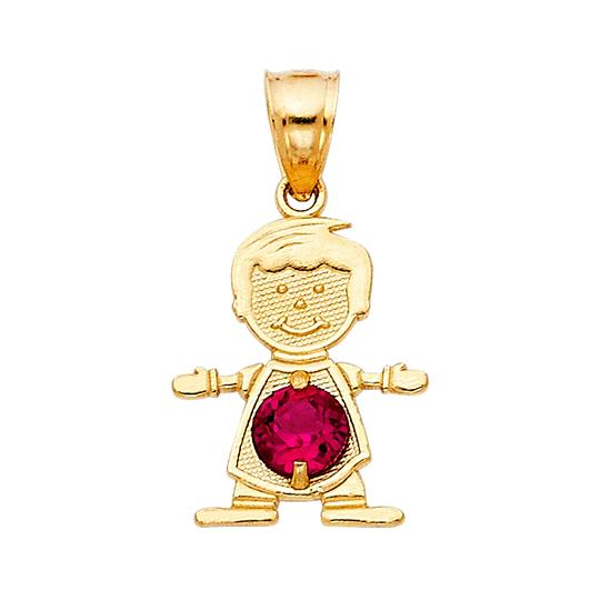 TD Collections 14K Yellow Gold June Birthstone CZ Boy Pendant Image 0