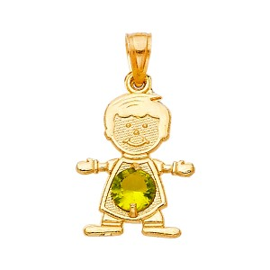 TD Collections 14K Yellow Gold August Birthstone CZ Boy Pendant