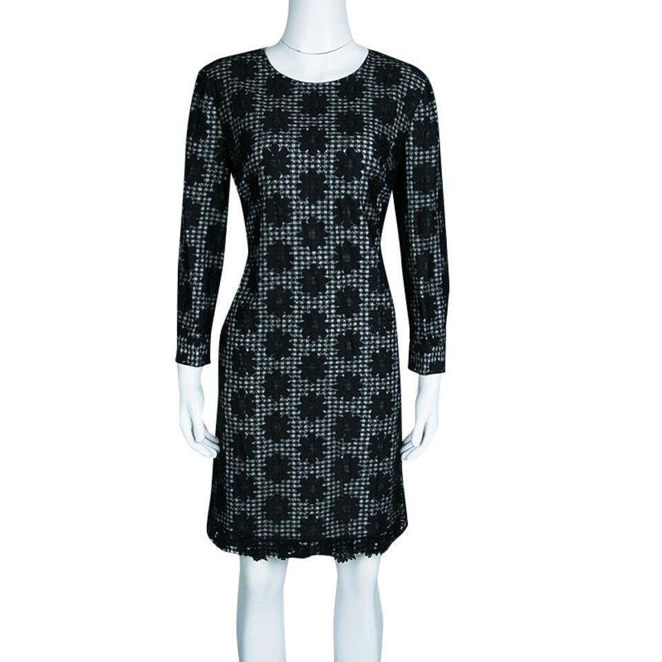 Black Casual Mesh Monochrome See by Dress Overlay Checkered Floral Shift Chloé Short qtvCfCEw