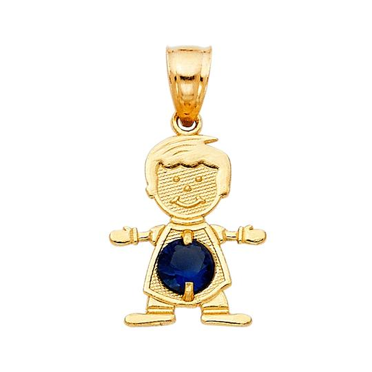 TD Collections 14K Yellow Gold August Birthstone CZ Boy Pendant Image 0