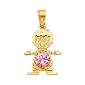 TD Collections 14K Yellow Gold October Birthstone CZ Boy Pendant