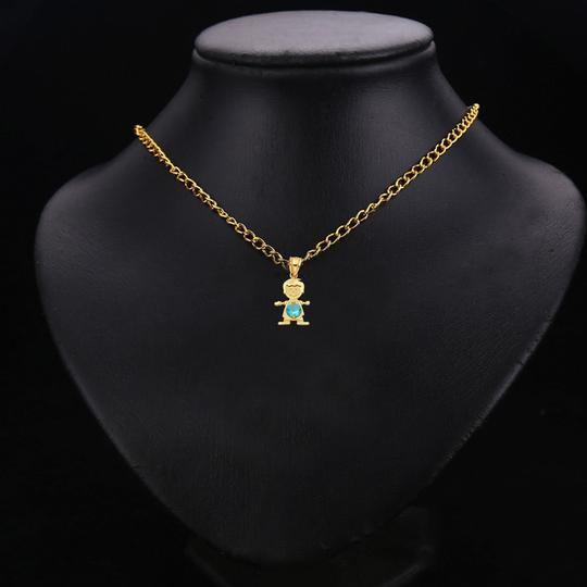 TD Collections 14K Yellow Gold December Birthstone CZ Boy Pendant Image 2