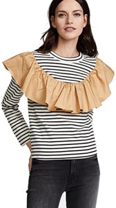 English Factory Top black, white, and tan