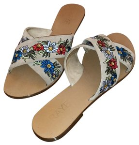 RAYE Tan w/ Embroidered Flowers Sandals