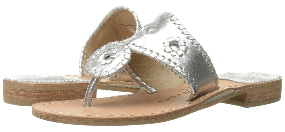 03cc02414194 Jack Rogers Navajo Hamptons Palm Beach Metallic Leather Silver Sandals ...