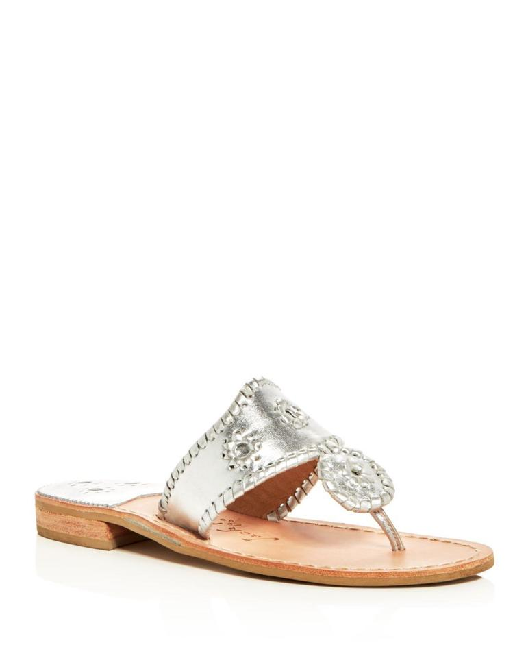 c6459fb716bd Jack Rogers Navajo Hamptons Palm Beach Metallic Leather Silver Sandals  Image 0 ...