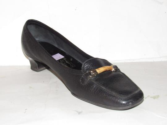 Salvatore Ferragamo Loafer Style Gancini Accents Chrome/Bamboo At Toe Chunky Kitten Heel Excellent Condition black leather Flats Image 1