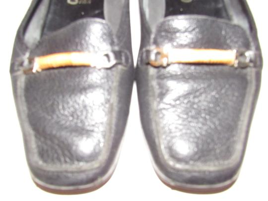 Salvatore Ferragamo Loafer Style Gancini Accents Chrome/Bamboo At Toe Chunky Kitten Heel Excellent Condition black leather Flats Image 10