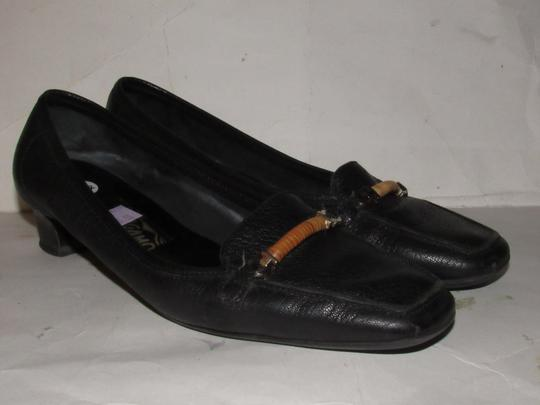 Salvatore Ferragamo Loafer Style Gancini Accents Chrome/Bamboo At Toe Chunky Kitten Heel Excellent Condition black leather Flats Image 11