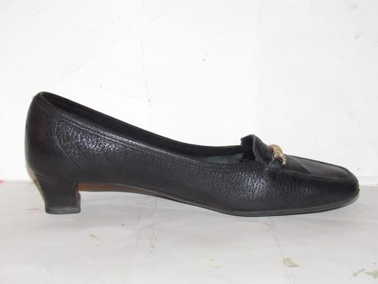 Salvatore Ferragamo Loafer Style Gancini Accents Chrome/Bamboo At Toe Chunky Kitten Heel Excellent Condition black leather Flats Image 5