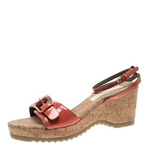 Stella McCartney Faux Patent Patent Leather Wedge Red Sandals