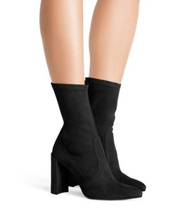Stuart Weitzman Stretch Satin Pointed Toe Black Boots