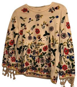 Alice + Olivia Top Tan with Flowers