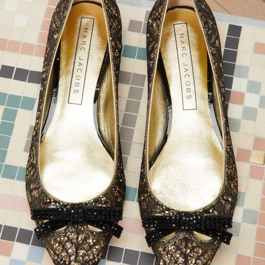 Marc Jacobs Gold/Black Flats Image 1