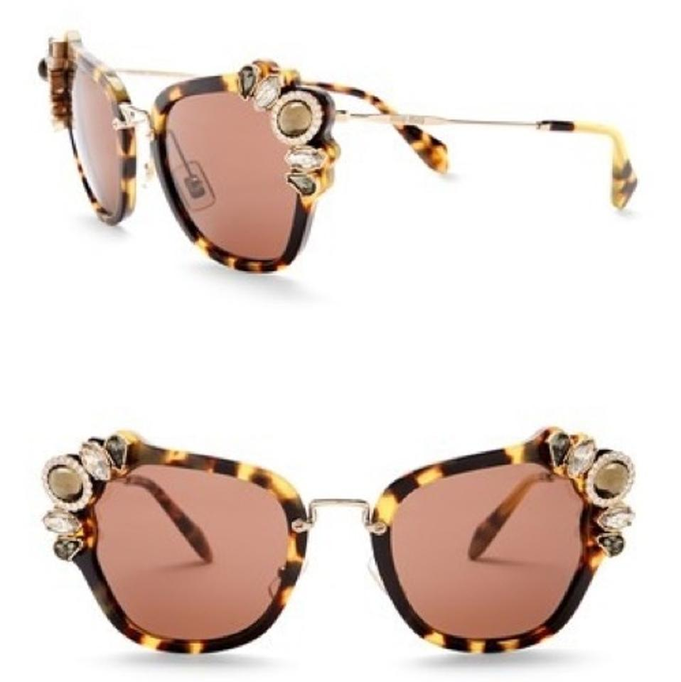 306465b45db Miu Miu Cat Eye Embellished Sunglasses - Tradesy