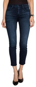 Siwy Mid Rise Embroidered Curves Skinny Jeans-Dark Rinse