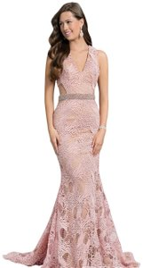 Terani Couture Lace Full Length Prom Beaded Dress
