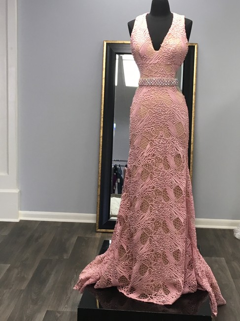 Terani Couture Lace Full Length Prom Beaded Dress Image 2