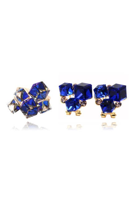 Ocean Fashion Blue Square Ring Set Earrings Ocean Fashion Blue Square Ring Set Earrings Image 1