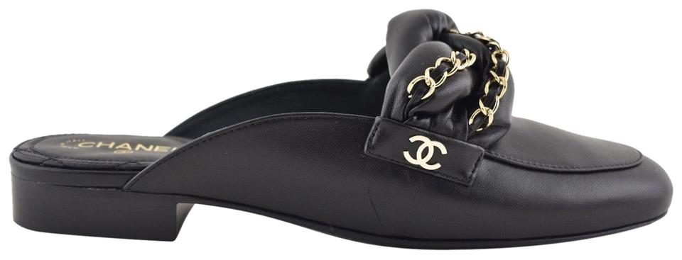 8e9a91f8ba31 Chanel Black 17a Braided Cc Logo Chain Slide Mule Loafer Moccasin Flats.  Size  EU 35 (Approx.
