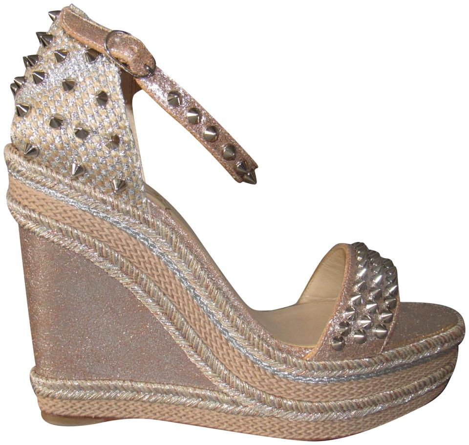 best sneakers f8d64 97351 Christian Louboutin Silver Taupe New Madmonica 120 Spike Suede Wedges Size  EU 40 (Approx. US 10) Regular (M, B) 26% off retail
