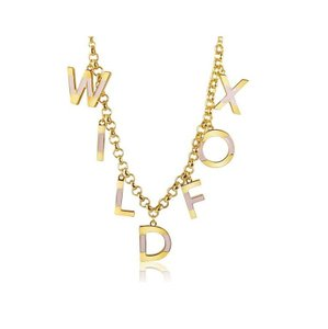 Wildfox WILDFOX COUTURE 'WILDFOX' 14KT YG PLATED/PINK ENAMEL 7 CHARMS NECKLACE