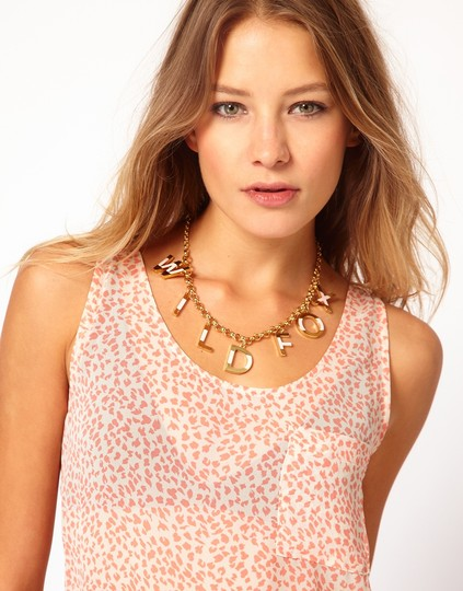 Wildfox WILDFOX COUTURE 'WILDFOX' 14KT YG PLATED/PINK ENAMEL 7 CHARMS NECKLACE Image 1