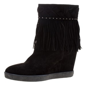 Le Silla Suede Wedge Leather Black Boots