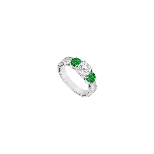 Preload https://img-static.tradesy.com/item/23902141/white-green-three-stone-created-emerald-and-cubic-zirconia-sterling-silver-ring-0-0-540-540.jpg