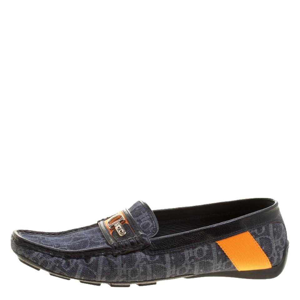 Dior Blue Blue Black and Monogram Flats Loafers Fabric Leather PrwPZq5
