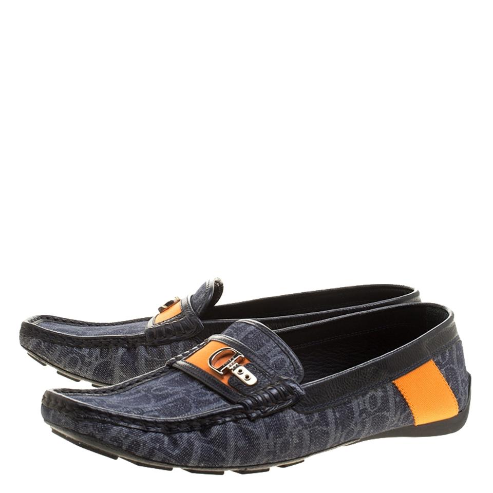 Loafers Fabric Monogram Flats and Blue Dior Leather Blue Black IqgtH0w
