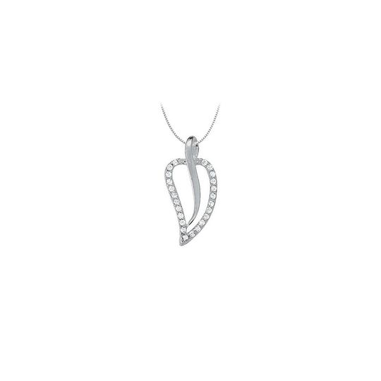 Preload https://img-static.tradesy.com/item/23902164/white-cubic-zirconia-leaf-shaped-pendant-in-sterling-silver-025-ct-tgwperfe-necklace-0-0-540-540.jpg