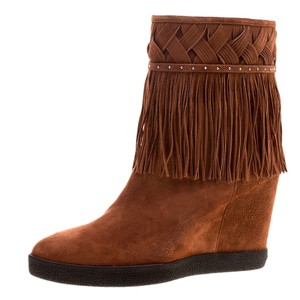 Le Silla Suede Wedge Brown Boots