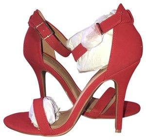 Anne Michelle Sleek Open Toe Bright Casual Red Sandals