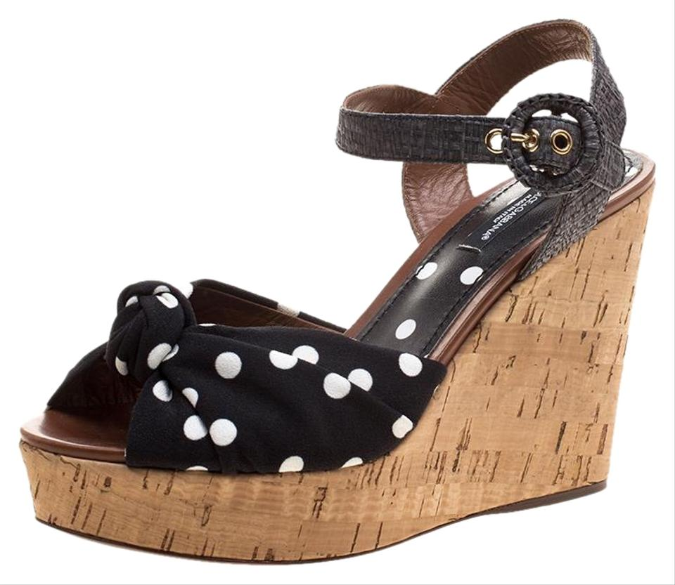 76d0159434766c Black Polka Dot Fabric and Raffia Bianca Cady Cork Wedge Sandals