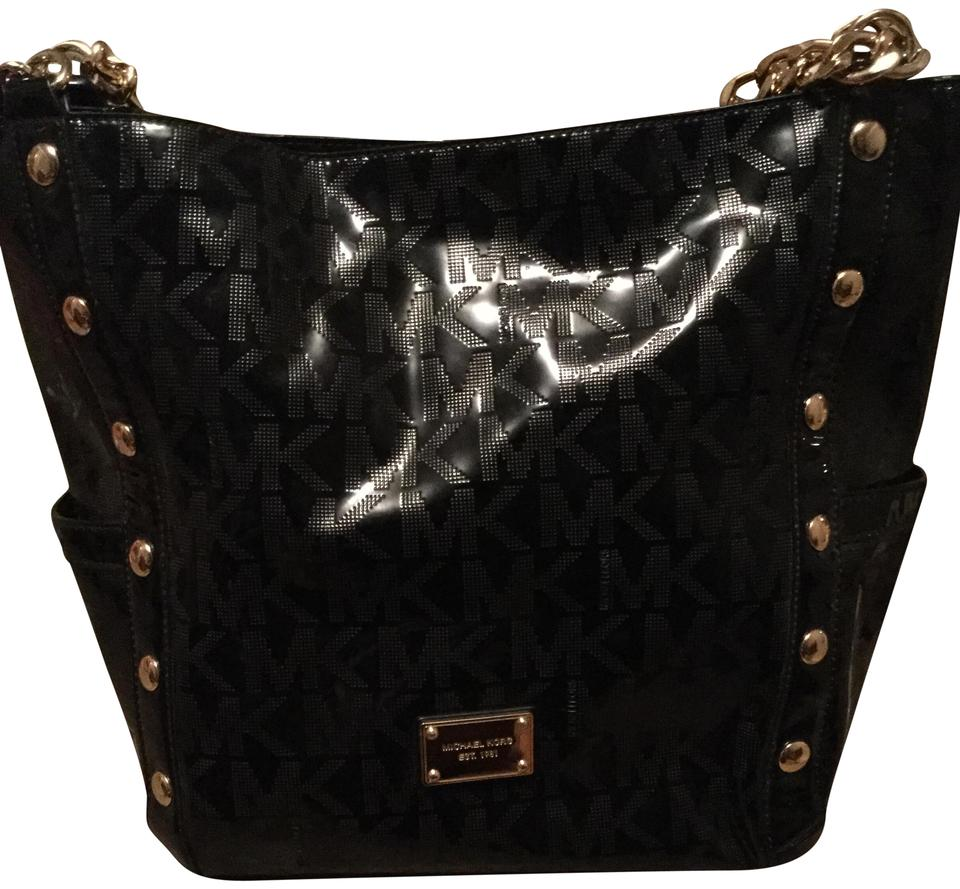6985b6605d397b Michael Kors Shiny Smooth Jet Set Purse Mk Initials All Over Black with  Gold Trim Hardware & Strap Patent Leather Tote
